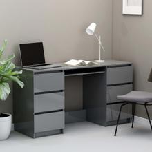 vidaXL Skrivbord grå högglans 140x50x77 cm spånskiva