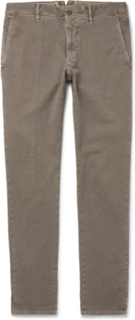 Slim-fit Herringbone Stretch-cotton Trousers - Army green