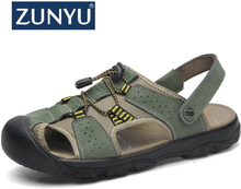 ZUNYU Summer Sandals Men Leather Classic Roma Sandals 2019 Outdoor Sneaker Beach Flip Flops Man Water Trekking Sandals Size 50
