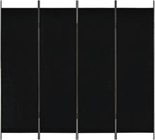 vidaXL Rumsavdelare 4 paneler svart 200x180 cm