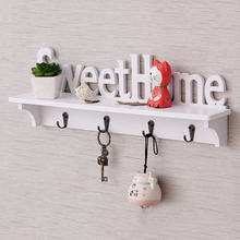 "Wooden Wall mounted rack Lettered ""SweetHome"" Wall Hook Door Mounted Rack Coat Key Hanger Home Decor Ornament White"