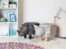 Beliani Sittpuff med förvaring konstläder ljusgrå ELEPHANT
