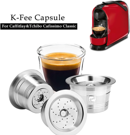 ICafilas ECO STAINLESS STEEL Refillable k-fee Coffee Capsule Reusable Filter For Caffitaly Tchibo Cafissimo Pure Mahcine