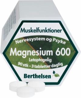 Berthelsen Magnesium 600 200 mg - Vegetabilsk 90 tabletter