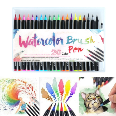 20PCS Colors Art Marker Watercolor Brush Pens for School Supplies Stationery Drawing Coloring Books Manga Calligraphy