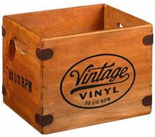 Skivback i trä för LP-skivor / Vintage