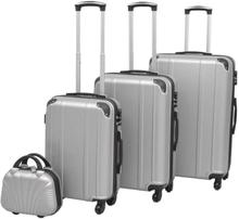 vidaXL Uppsättning hårda resväskor 4 st silver