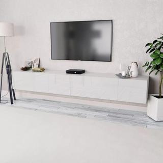 vidaXL TVbänkar 2 st spånskiva 120x40x34 cm vit högglans