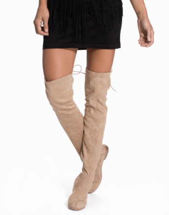 Thigh-high - Beige NLY Shoes Flat Thigh High Boot