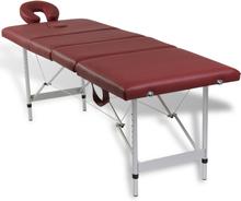 vidaXL Röd hopfällbar 4-sektions massagebänk med aluminium ram