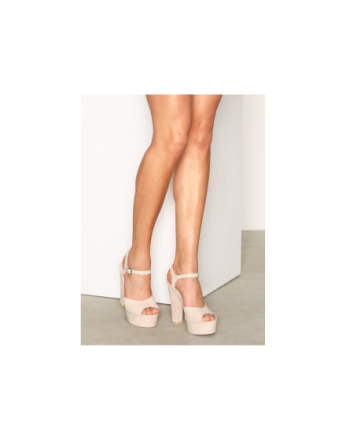 High Heel - Beige NLY Shoes Plain Platform Sandal