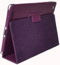 Lædertaske /-holder til iPad 2/iPad 3/iPad 4. Lilla.
