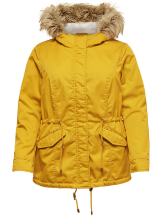 ONLY Curvy Solid Parka Coat Women Yellow