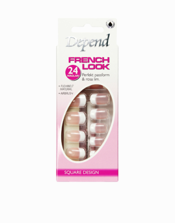 Løsnegler - Rosa Depend French Look Nails - Long Square Design