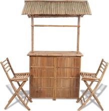 vidaXL Caféset 3 delar bambu
