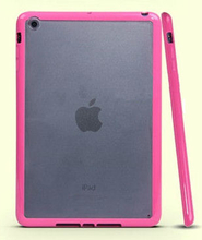 iPad Mini mat transparent bumpercover. Hot pink.