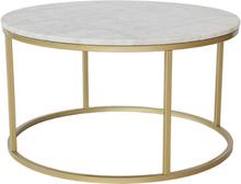 Accent soffbord rund 85 - Vit marmor / Mässingsfärgad