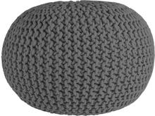 Cotton Puff i flätad bomull - Grå 55 cm i diameter