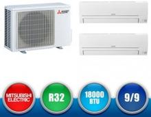 MITSUBISHI ELECTRIC MXZ-2HA40VF + MSZ-HR25VF + MSZ-HR25VF Smart R32 Wall DualSplit Kit - 14000 BTU (9+9)