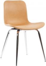 Langue Avantgarde Dining Chair/Krom, Läder: Vintage-Cognac 21000