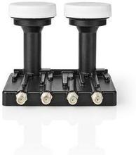 Nedis LNB | Quad Monoblock 6,0 ° | Utgångsanslutning: 4x F-kontakt | Brusfaktor omfång: 0.85 dB | Omvandlingsförstärkning: 52-67 dB | Svart