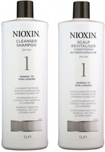 Nioxin System 1 Cleanser 1000ml & Scalp Therapy Revitalizing Conditioner 1000ml