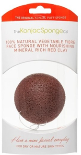 Konjac Sponge Premium Facial Puff French Red Clay
