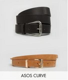 ASOS DESIGN Curve 2 pack jeans belt and skinny belt - Multi
