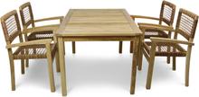 Trädgårdsgrupp i premiumteak med 4 stolar