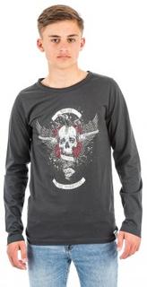 WAY INK, Gun skull LS TEE, Svart, T-shirt/Linnen till Kille, 170 cm