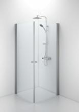 Ifö Space rett dør m/knoppgrep 80 cm, Klart glass/Alu profil - Kun 1 dør