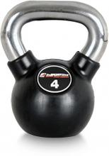 inSPORTline Kettlebell, gummi/krom 4 kg, inSPORTline Viktbelastning
