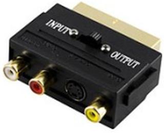 Deltaco Adapter 4 pin mini-DIN, RCA Hun 21-pin SCART Han Sort (AA-15)