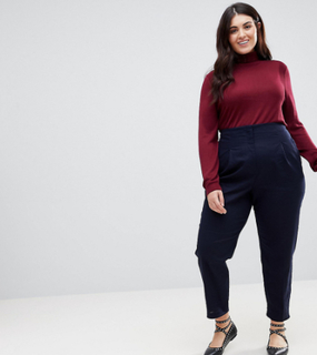 ASOS CURVE Tailored Clean High Waist Linen Peg Trousers - Navy