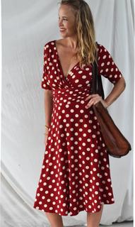 Retroklänning 40-tal Nora, Vinröd polkadot