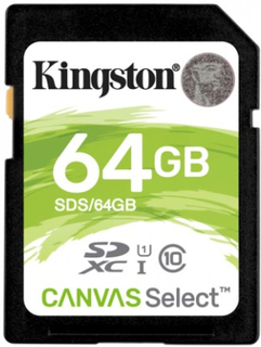 Kingston Minneskort Canvas Select SDXC-kort, 64GB, UHS-I Klass 10 - Kingston