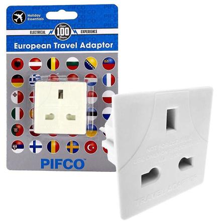 Pifco UK EU 3 pin til 2 pinners reise adapter Plug