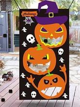 Halloween Party Pumpkin Pattern Hanging Toss Game Felt with 3 Pcs Bean Bags for Kids