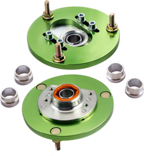Compatible for BMW E46 320 323 325 328 M3 Pair Front Coilover Camber Plate Top Mount Green