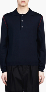 Marni - Long Sleeve Polo Sweater - Blå - 48