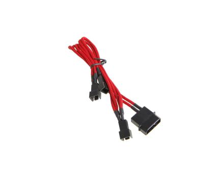 Molex till 3x 3-Pin Adapter 20cm - Sleeved Red/Bla