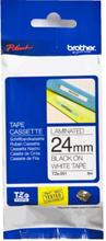 24mm Märkband Svart på vit tex