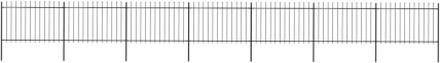 vidaXL Trädgårdsstaket med spjuttopp stål 11,9x1,2 m svart
