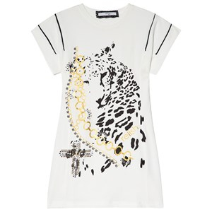 Relish Cream Leopard Graphic Print and Embellished T-shirt Klänning 10 years