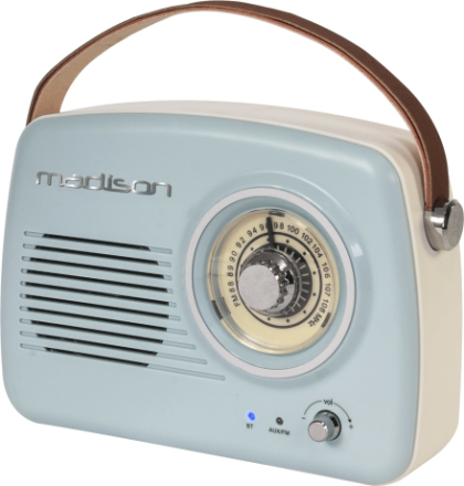 Madison retro radio m. Bluetooth, ljusblå
