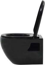 Vegghengt toalett i sort keramikk