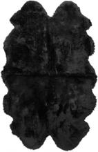 Gently långhårigt fårskinn 4-set - 180x120 cm - Svart