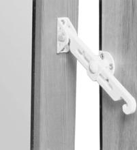 Barn- och inbrottsskyddande fönsterspärr ASSA 392 för inåtgående fönster - Vit