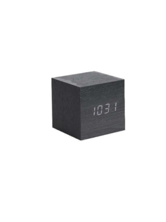 Mini Cube Black Alarm clock