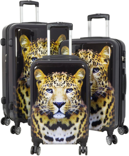 3 Delar Polykarbonat Kvalitet Resväskor Set - Resväska - Leopard